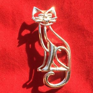 Vintage Danecraft Cat Pin Brooch Cut Out Design